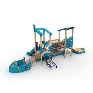 Parc d'attractions Kid Playground pour enfants en bois Pirate Ship Playset